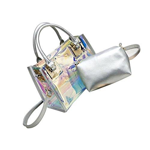 Ppge Hologram Transparent Bag Handbag Shoulder Bag Carrier Fashion, Silver Silver