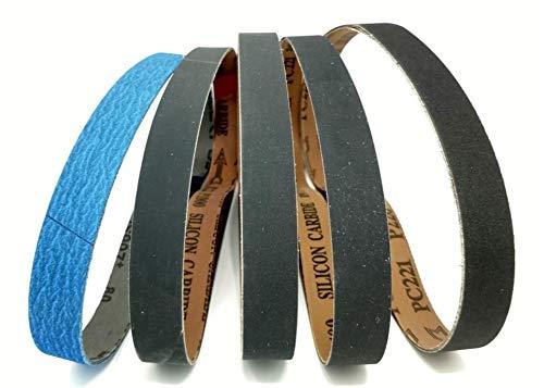 1 X 30 inch Sanding Sharpening Belt Assortment 15 Pack 80 Grit Ceramic, 220, 400, 600, 1000 Grit Silicon Carbide