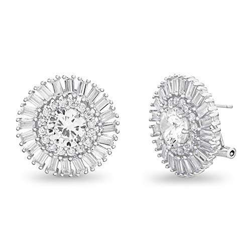 (INSPIRED BY YOU. Baguette and Round Shaped Prong Set Cubic Zirconia Ballerina Stud Halo Earrings for Women with Omega Back in Rhodium Plated Sterling Silver (White))