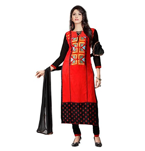 CRAZYBACHAT Indian Ethnic Pure Glass Cotton Designer Red and Black Salwar Suit Dress Materials by CRAZYBACHAT