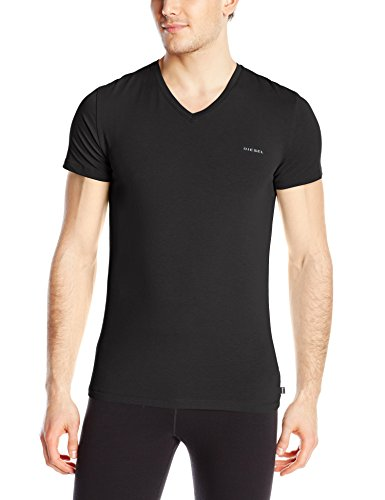 Diesel Men's Michael Essentials Logo V-Neck T-Shirt, Black, (Diesel Black T-shirt)