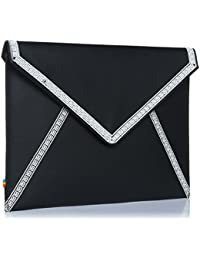 ZION black and white embroidered structured Envelope day to evening sleek clutch