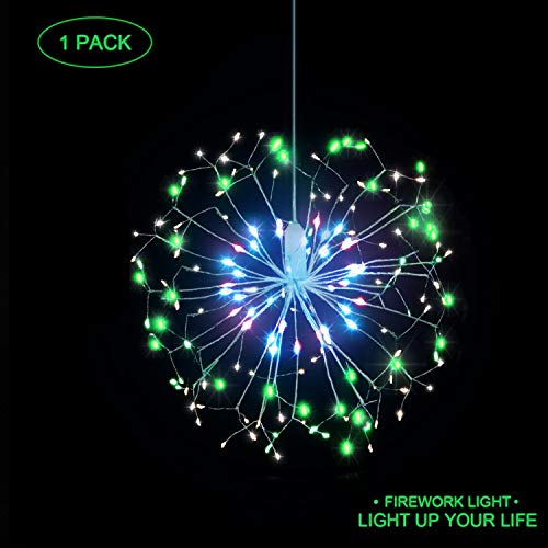 LED String Lights, 8 Modes Dimmable with Remote Control, Battery Operated Hanging Starburst Lights with 198 LED, IP44 Waterproof, Decorative Wire Lights for Parties