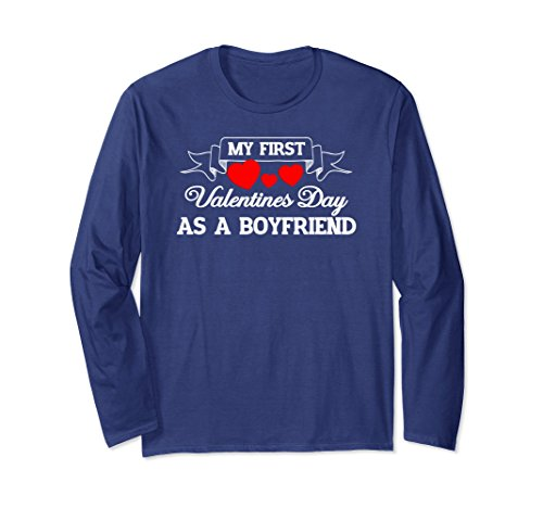 Unisex My First Valentines Day As A Boyfriend - Long Sleeve Large Navy