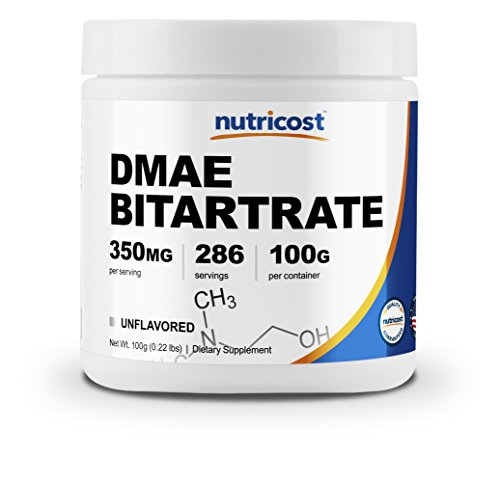 Dmae Dimethylaminoethanol 100 Tablets - Nutricost Pure DMAE-Bitartrate Powder 100 Grams