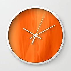 Society6 Color Serie 1 Orange Wall Clock White Frame, White Hands