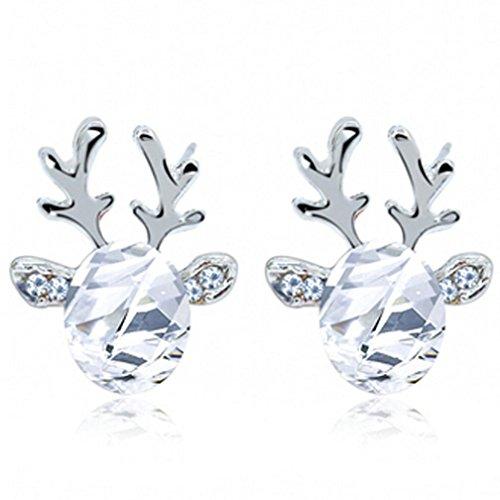 Elogoog Crystal Gemstone Earrings luxury three dimensional Christmas Reindeer Earing Gift (White) Christmas Items On Sale