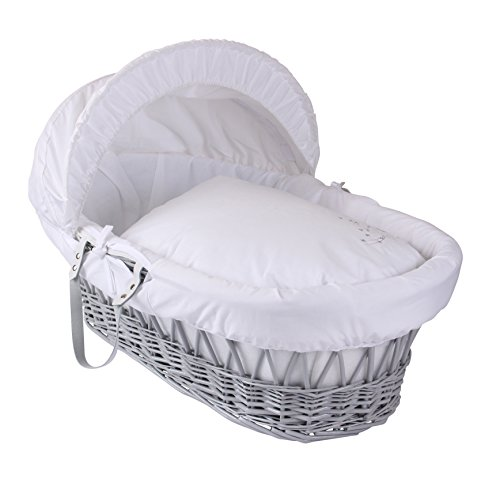 Clair de Lune Starburst Grey Wicker Moses Basket & Rocking Stand (White) (Clair De Lune Moses Basket Stand White)