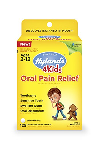 Kids Oral Pain Relief Tablets by Hyland's 4Kids, Natural Relief of Toothache, Swelling Gums, and Oral Discomfort, 125 Count (Best Pain Pill For Toothache)