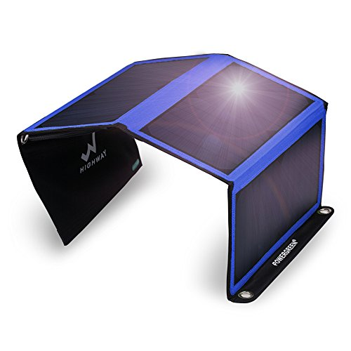 Solar Charger, PowerGreen 21W Portable Foldable Solar Panel with 2 USB Ports for all 5V Mobile Devices(Blue) HIGHWAY-TECH Solar Power And Accessories