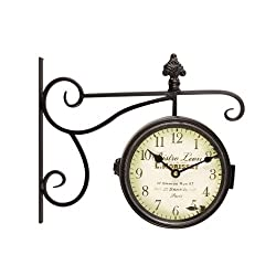 Adeco Black Iron Round Double-Sided Wall Hanging Clock with Scroll and Fleur de Lis Wall Mount Bistro Leon Home Decor