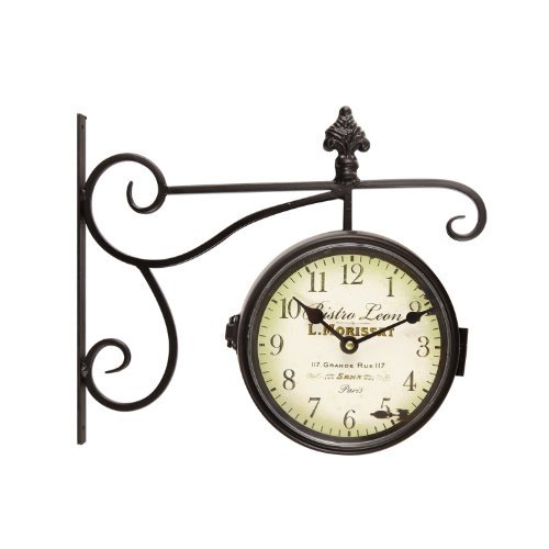 Adeco Black Iron Round Double-Sided Wall Hanging Clock with Scroll and Fleur de Lis Wall Mount