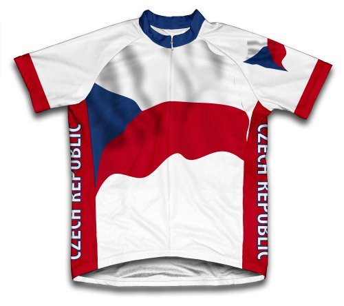 ScudoPro Czech Republic Flag Short Sleeve Cycling Jersey for Men - Size XL