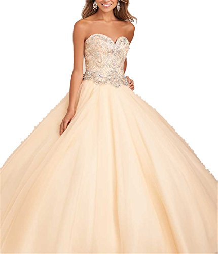 Gorgeous Sweetheart Neck Sweet 16 Girls Quinceanera Dresses Crystals Long Prom Dress 4 US Champagne