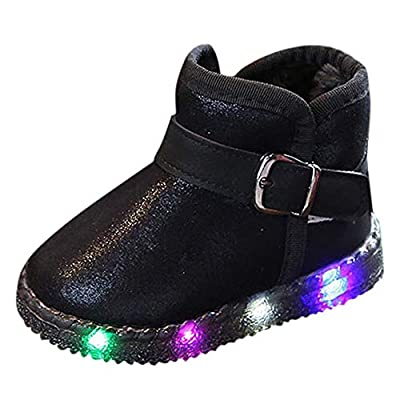 Tronet Winter Baby Shoes Toddler Girls LED Light Up Luminous Sneakers Winter Warm Double-Deck Non-Slip Snow Boots