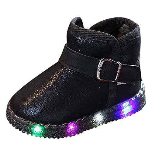 Little Kids Winter Autumn Boots,Jchen(TM) Baby Kids Little Boys Girls LED Light Up Luminous Sneakers Winter Warm Snow Boots for 1-6 Years Old (8 M US Toddler, Black)]()