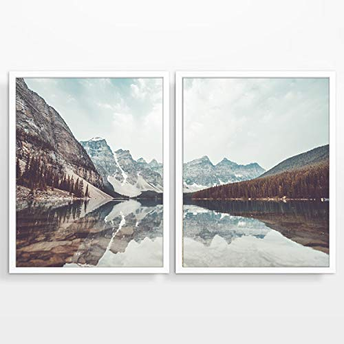 (Mountain and Lake Landscape Photography prints, Set of 2, UNFRAMED, Adventure Wall art decor poster sign, 8x10)