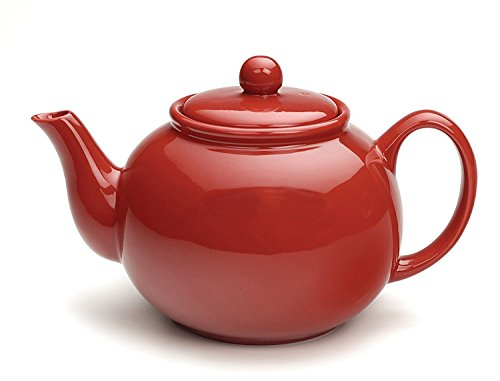 RSVP Large Stoneware 6-Cup Teapot, Red (Light Pink Stoneware)