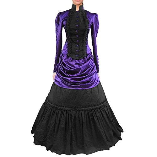 Vintage Retro Wedding Party Gown Gothic Lolita Lace Ruffles Evening Prom Dress (X-Small, dark purple) -