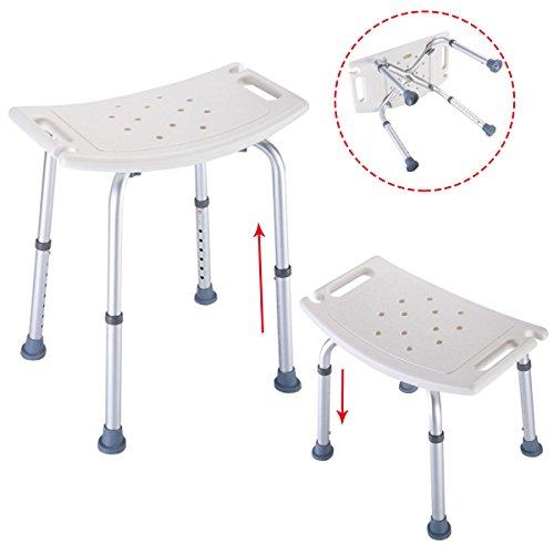 New MTN-G Bath Shower Chair Adjustable Medical 8 Height Bench Bathtub Stool Seat White