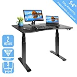 Seville Classics AIRLIFT S3 Electric Standing Desk with 54' Top, Dual Motors, 4 Memory Buttons, LED Height Display (Max. 51.4' H), 3-Section Base, Black/Black