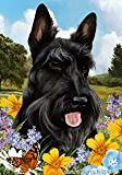 "Cheap Scottish Terrier Dog – Tamara Burnett Summer Flowers Outdoor Garden Flag 12"" x 17"""