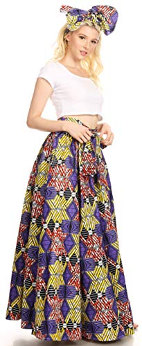 Sakkas 16317 - Asma Convertible Traditional Wax Print Adjustable Strap Maxi Skirt | Dress - 49-Multi - OS