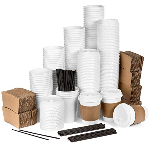 Average Joe - 120 Pack - 12 Oz Disposable Hot Paper Coffee Cups, Lids, Sleeves, Stirring Straws To Go - (Clean White Color) -