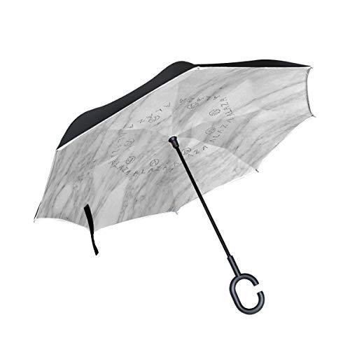 Inverted Umbrella Abtract Gray Marble Texture Reverse Umbrella UV Protection Windproof for Car Rain Sun Outdoor Black