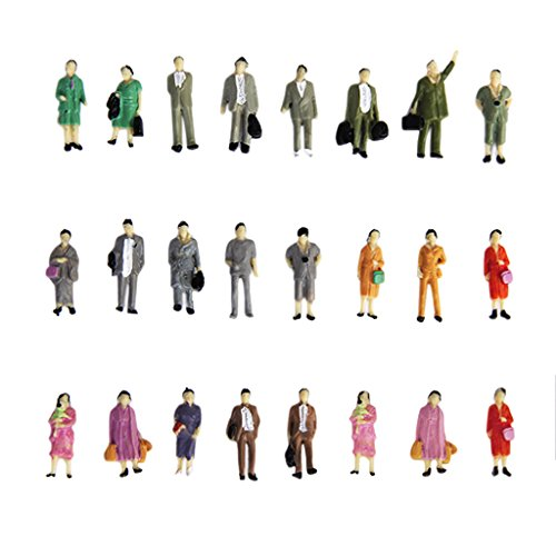 Amazon.com: Fityle 24 Mix STANDING Model Train People ...