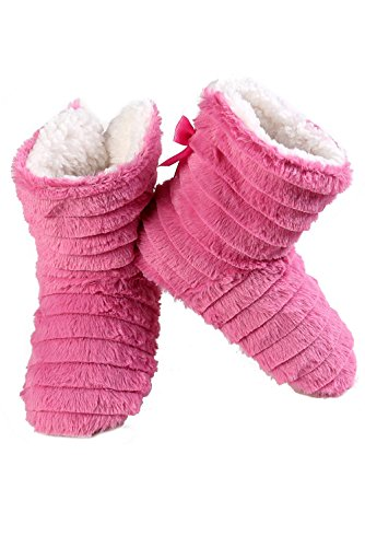 Lining Faux Tiered Shearling Bootie Faux Slipper with Pink ICONOFLASH Women's Mink CqwqzO