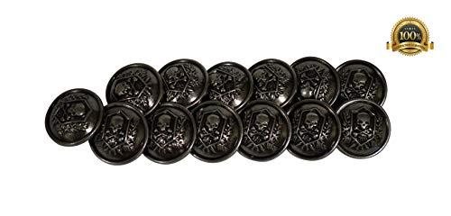 Set of 13 Premium Metal Skull & Crossbone Heraldic Shield Buttons 25mm, 1 Inch for Pea Coats, Overcoats, Winter Coats, Military/Army Coats, Blazers, Suit Jackets, Sport Coats (Antique Silver)