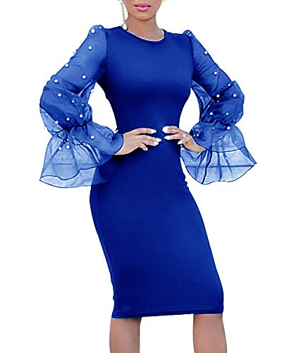Net Short Party Dress - Gobought Womens Bodycon Business Dress Pearl Mesh Bell Long Sleeve Party Office Pencil Dress