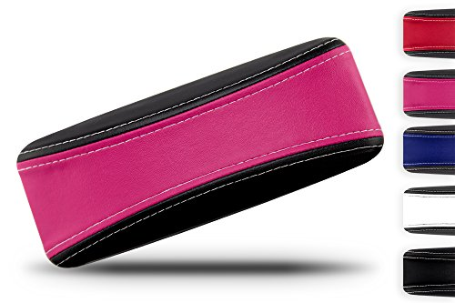 Shell Pink Reviews (Protective Glasses Case for Men and Women - Prevent Scratches on your Glasses and Sunglasses - Premium Leather Felt Lined - 100% Satisfaction Guarantee - Pink on Black with White Stitching)