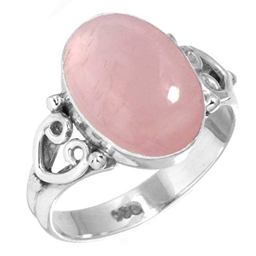 Natural Rose Quartz Women Jewelry 925 Sterling Silver Ring Size 8