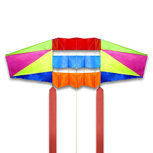 Mint's Colorful Life Large Rainbow Kite for Adults & Kids with Long Tail, 2.5 m Super Easy Flyer 3D Kites for the Beach Park,Come with 49 Feet Tails x 2 and Kite String & Handle