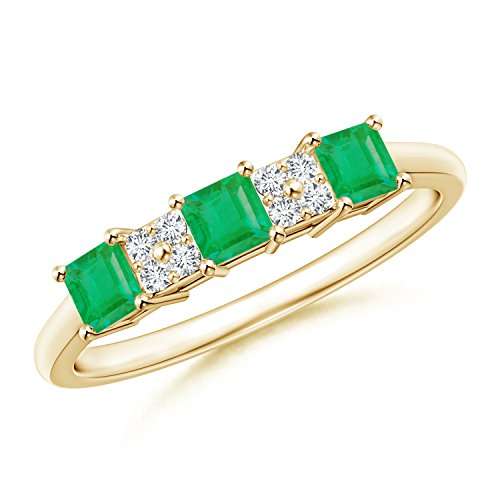 Holiday Offer - May Birthstone - Diamond Cluster and Three Stone Square Emerald Ring for Women in 14K Yellow Gold (3mm Emerald) by Angara.com