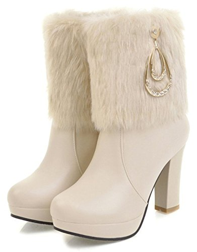 IDIFU Womens Warm Fluffy Fur Zip Up Round Toe Ankle High Block Heeled Booties With Platform Apricot LlNGMeAYw