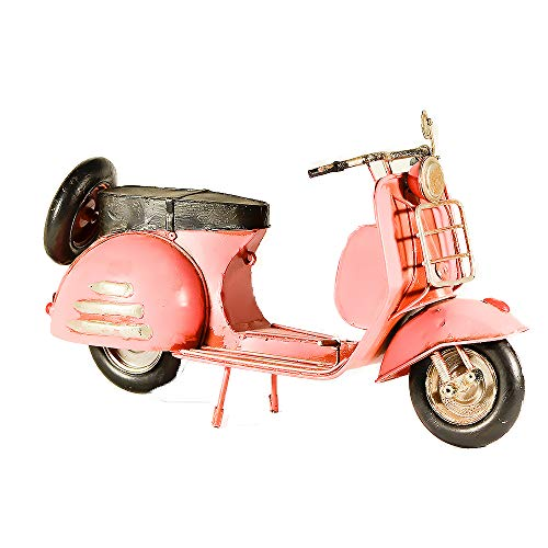 EliteTreasures Vintage Style Metal Collectible Pink Scooter Vespa Model - Decorative Collectible - Doll Scooter - Tabletop Bike Ornament - Display Scooter Decor