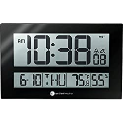 Ambient Weather RC-8461 Jumbo Atomic Digital Wall Clock with Temperature and Humidity