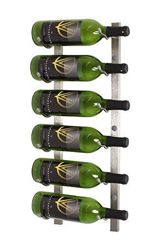 VintageView WS21 2-Foot 6 Bottle Wall Mounted Wine Rack in Brushed Nickel (1 Row Deep)