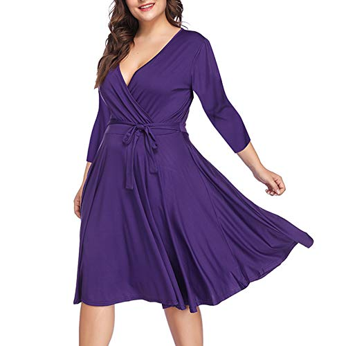ORICSSON Women V Neck Low Bust Cascading Ruffle Slim Fit Plus Size Dress