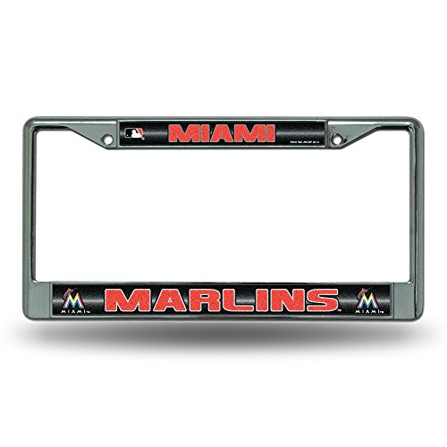 - Rico MLB Miami Marlins Bling License Plate Frame, Chrome, 12 x 6-Inch