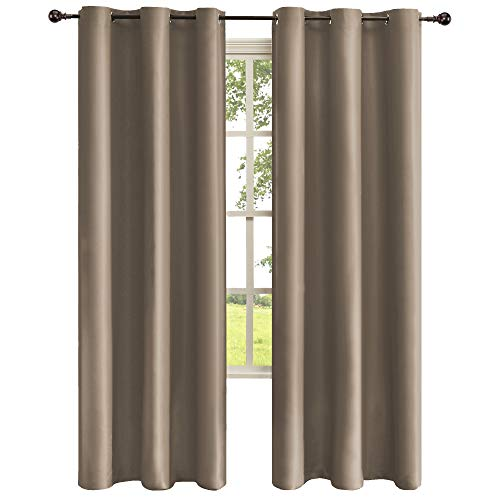 Obstal Thermal Insulated Blackout Curtains - Room Darkening Noise Reducing Grommet Curtain Panels for Bedroom, Taupe, 42 x 95 Inch, 1 Panel