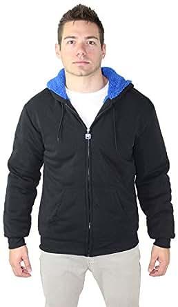 Moda Essentials Men's Sherpa Lined Zip Hoodie Sweatshirt Black Sz M