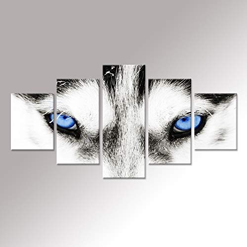 iHAPPYWALL Hello Artwork - Large Canvas Wall Art Black and White Wolf Dog with Blue Eyes Poster Animal Face Head Series 5 Pieces Abstract Picture Painting Home Decor Wall Art ()