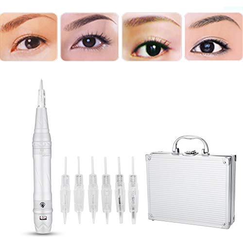 Permanent Makeup Tattoo Machine, Multifunction Digital Microblading Pen with 6 Needles, Rotary Eyebrow Tattoo Pen Cartridge Needles for Eyebrow Lip Eyeliner Makeup Semi Permanent Beauty (US) -