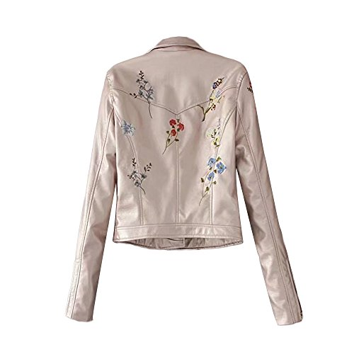 Large Jackets Size Pockets Sleeve Leather Girls Floral Rose Short Autumn Faux Long Turn Coats Zipped Winter Gold Down Collar Solid with Casual Womens Embroidery Outwear Cool MIRRAY Outerwear ETRxwq4Hw