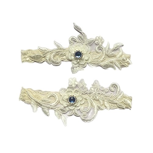 Bueer Wedding Bridal Lace Garter Set Keepsake Toss Tradition Vintage, 2pc (A1-White)