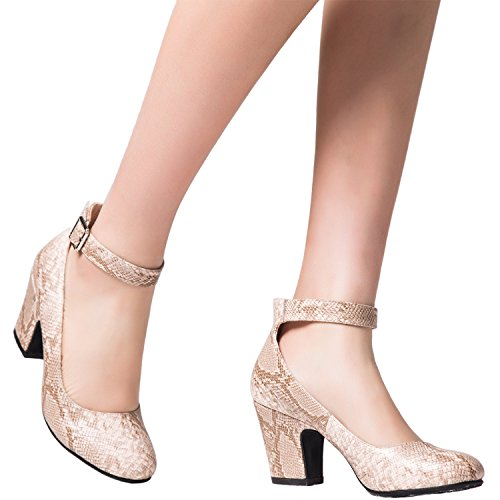 Toe Luoika Strap Classic Women's Round Pump Shoes Golden Snake Mid Heel Stacked Adjustable Ankle Rr8nwqfRP